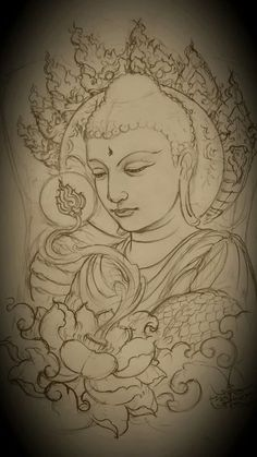 Satyagraha - Satyagraha You are in the right place about Satyagraha Tattoo Design And Style Galleries On The Net - Buddha Tattoo Design, Buddha Tattoos, Buddha Drawing, Buddha Painting, Mural Painting, Paintings, Tattoo Drawings, Body Art Tattoos, Art Drawings