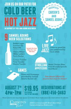 Reserve your spot today. Call (888) 456-3463 Reservations are required. Space is limited. Cost to attend the Cold Beer, Hot Jazz event: $19.95 per person, tax and gratuity not included. (Must make separate reservations for dinner.) Samuel Adams Boston Lager, Beer Week, Ipa, Separate, Jazz, Cold, Dinner, American, How To Make