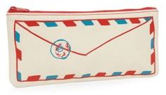 "Air Mail Canvas Pencil Pouch 4"" x 9"" 