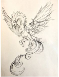 53 Super Ideas For Tattoo Dragon Sketch Deviantart Tattoo Dragon And Phoenix, Phoenix Drawing, Phoenix Bird Tattoos, Phoenix Tattoo Design, Phoenix Art, Bild Tattoos, Body Art Tattoos, New Tattoos, Tattoo Drawings