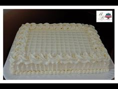 Wedding Sheet Cakes, Bolo Grande, Buttercream Birthday Cake, Square Cakes, Rose Cake, Cake Decorating Techniques, Lose Weight At Home, Creamy White, Decoration