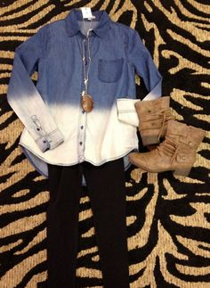 Outfit of the day! We paired our ombre chambray shirt with black leggings and topped it off with our fab ankle boots :) Top: http://8thstreetboutique.com/collections/tops/products/ombre-denim-long-sleeve-top Leggings: http://8thstreetboutique.com/collections/basics/products/basic-leggings Boots: http://8thstreetboutique.com/collections/shoes/products/brown-ankle-boots