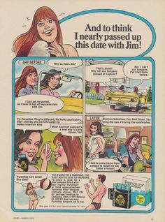 1974 Pursettes Tampons Ad Feminine Hygiene Products Comic Cartoon Funny Vintage Advertisement Bathroom / Gyno Office Wall Art Decor Print