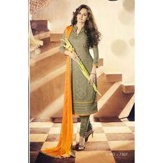 Party Wear Georgette Olive Churidar Salwar Kameez - 7307
