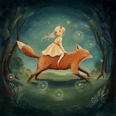 Dream Animals Fox Girl Print by theblackapple on Etsy, $16.00