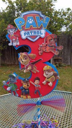 inch Paw Patrol centerpiece Paw Patrol by SilviasPartyDecor Bolo Do Paw Patrol, Cumple Paw Patrol, Paw Patrol Cake, Paw Patrol Party, Paw Patrol Birthday, Third Birthday, 4th Birthday Parties, Boy Birthday, Birthday Ideas