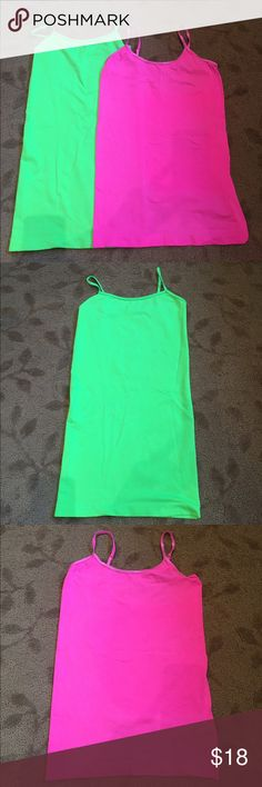 Two Gorgeous Camisoles! Hot Pink & Neon Green! Two Cami's. Great is O/S and Pink is Medium but they stretch as we all know! Great, Clean Condition! Great Price! Gorgeous Colors! Tops Camisoles