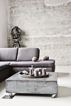 Stylish and inspiring industrial living room designs 17 Concrete Interiors, Concrete Furniture, Outdoor Furniture, Living Room Designs, Living Room Decor, Living Rooms, Concrete Coffee Table, Coffee Tables, Concrete Slab