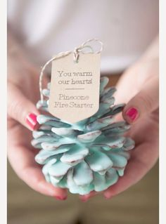 Diy wedding favor ideas on a budget diy wedding favors diy pine cone fire starter wedding Creative Wedding Favors, Wedding Shower Favors, Rustic Wedding Favors, Beach Wedding Favors, Wedding Gifts For Couples, Wedding Favors For Guests, Personalized Wedding Favors, Wedding Ideas, Wedding Decorations
