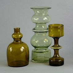 Three art glass vases by Kaj Franck for Nuutajarvi