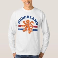 Shop Dutch Lion and Flag of Netherlands T-Shirt created by TropicalToad. Netherlands Flag, Types Of T Shirts, Zombie T Shirt, Flag Design, Dutch, Tshirt Colors, Funny Tshirts, Lion, Graphic Sweatshirt