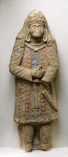 Figure, ca. 1200; Seljuq Iran. Painted stucco