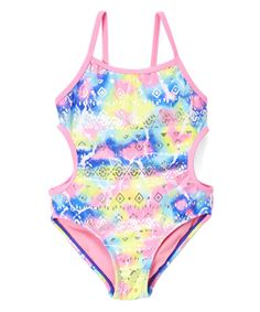 Pink Multi-Color Abstract Cutout One Piece - Girls