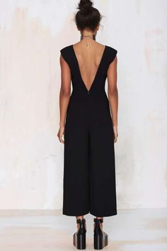 Nasty Gal Killer Queen Plunging Jumpsuit - Rompers + Jumpsuits | Bottoms