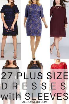 27 Plus Size Wedding Guest Dresses {with Sleeves} - P lus Size Fashion for Women - alexawebb.com #alexawebb
