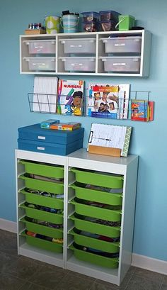 wall mounted storage and cubby bins for activity center storage