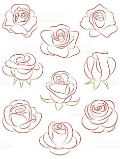 Set of roses. Set of roses. Royalty free set of roses vector illustration stock vector art and more images of abstract - Art Floral, Pencil Drawings, Art Drawings, Rose Drawings, Images Of Drawings, Pencil Art, Images Photos, Drawing Techniques, Doodle Art