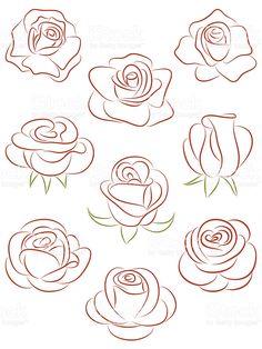 Juego de rosas. Ilustración vectorial. illustracion libre de derechos libre de derechos