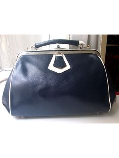 vtg DOCTOR BAG navy and white  faux leather by lesclodettes, $52.00