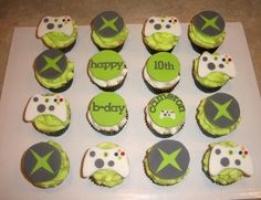 Xbox cupcakes... i need bean to help me make these for chris!