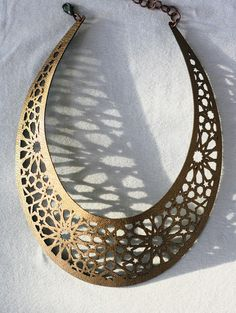 Geometric Laser cut Bronze & Gold Faux Leather Necklace by Style Hybrid.