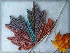 Ravelry: Decorative knitted maple Leaf pattern by Svetlana Gordon. Sewn together, these could be made into a beautiful fall runner. Ravelry: Decorative knitted maple Leaf pattern by Svetlana Gordon.I am still extremely new to knitting and not sure what I Yarn Projects, Knitting Projects, Crochet Projects, Crochet Video, Knit Or Crochet, Knitting Stitches, Knitting Yarn, Knitting Needles, Free Knitting