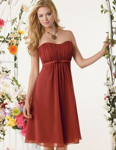 Jordan 635.   Chiffon knee length baby doll silhouette. Draped empire bodice with softened sweetheart neckline. Optional spaghetti straps and stole included. Also available floor length.