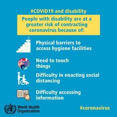 People with #disability have been amongst the most vulnerable populations during the current #COVID19 outbreak due to many health, social and environmental barriers, discriminatory attitudes and inaccessible infrastructure. How To Protect Yourself, Improve Yourself, International Health, Internet Providers, World Health Organization, Trend Fashion, Health Advice, Public Health, Special Education