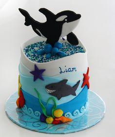 www.sweetz.net.au Fondant orka killer whale ocean shark kids birthday celebration cake