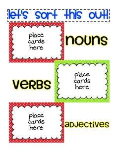Noun, Verb, and Adjective Sort FREEBIE - Jamie Rector - TeachersPayTeachers.com