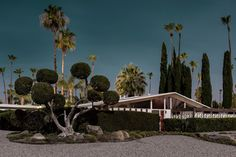 Australian photographer Tom Blachford presents the latest instalment of his series of modernist architecture photography Midnight Modern, a body of work that captures iconic Palm Springs mid-century residences in the chilling light of a full moon. Nocturne, Exterior Design, Interior And Exterior, Palm Springs Houses, Mid Century Exterior, Modern Photographers, Photography Exhibition, The Design Files, Exhibition Space
