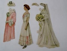 Antique PAPER DOLL BRIDE & 5 FANCY OUTFITS Wedding Dress YELLOW ROSES ca. 1910 (01/24/2013)