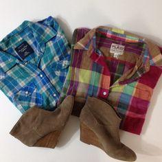 Button Up Bundle Bundle up bundle. Pink - Old Navy. Blue - AE. Tops Button Down Shirts