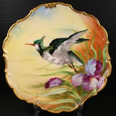 "Limoges FRANCE HAND PAINTED PLATE  10"" Bird With Iris GOLD RIM"