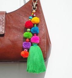 Tassel Pom Pom Keychain Bag Charm - Zipper Pull - BOHO Chic - Wooden Beads - Green Tassel- Green Pin