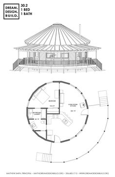 Yurt design for Construction Round House Plans, Small House Plans, House Floor Plans, Restaurant Floor Plan, Hotel Floor Plan, Yurt Home, Resort Plan, Circle House, Yurt Living