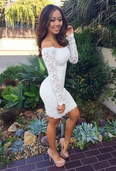 90816492529e18 White Lace Bodycon Dress