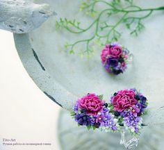 Купить В НАЛИЧИИ - Комплект серьги и кольцо с цветами и ягодками ежевики - тёмно-фиолетовый