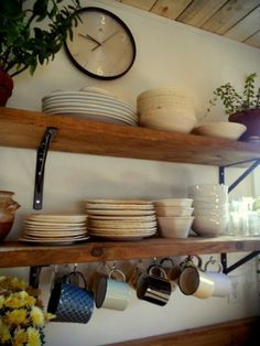 Rustic modern country-style kitchen rail plate racks