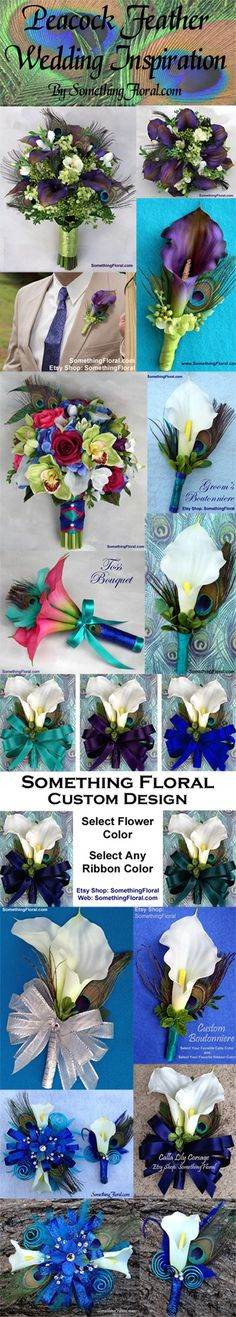 Peacock feather wedding and event ideas. Bouquets, boutonnieres, corsages, and…