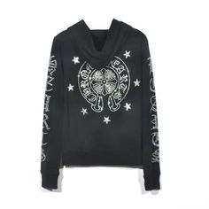 bbea8d98d04 Chrome Hearts Horseshoe and Cross Printed Black Cotton Hoodie Online Sale
