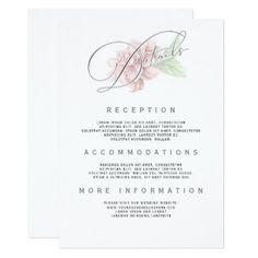 #Soft Pink Flower Typography Wedding Information Card - #weddinginvitations #wedding #invitations #party #card #cards #invitation #typography