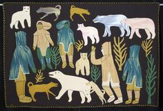 The tapestries use strong blocks and lines of color to depict traditional Inuit hunting scenes and enigmatic symbols of significance to Inuit culture. With no written tradition, the Inuit used tapestries such as these to convey their history and beliefs. Inuit Kunst, Art Inuit, Polar Bear Hunting, Polar Bears, Kunst Der Aborigines, Textiles, Indigenous Art, Aboriginal Art, Native Art