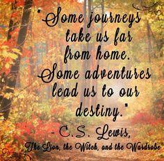 Algunos viajes nos llevan lejos de casa. Algunas aventuras nos llevan a nuestro destino.  C.S Lewis.