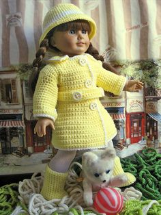 """Ravelry: American Girl Rainy Day Set 18"""" Doll Coat Hat and Boots pattern by Cheyenna Skelton."""