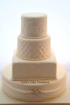 Not sure I like the square cake in this, maybe replace it with another round tier. Elegant Wedding Cake Cake by CarlasCakeCreations Square Wedding Cakes, Square Cakes, Elegant Wedding Cakes, Cool Wedding Cakes, Beautiful Wedding Cakes, Beautiful Cakes, Amazing Cakes, Beautiful Boys, Cake Icing