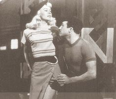 """Vera-Ellen and Gene Kelly in """"Words and Music"""" (1948) directed by Norman Taurog """"Set in a sleazy New York neighborhood, Kelly's Dancer encounters the wonderful Vera-Ellen as The Blonde. The couple dance seductively, and their mutual interest seems to grow as the music changes to a breezy, cheerful melody. Together they enter a saloon that seems to be populated by the city's finest gangsters and prostitutes. The music grows jazzy...the couple is smitten with each other."""
