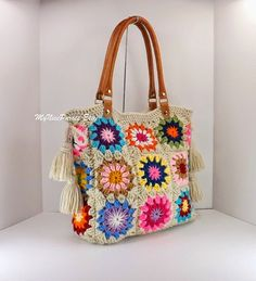Crochet granny squares handbag with tassels and genuine leather handles, Crochet Bag, Tote Bag, Boho Style Bag, Summer Bag Crochet Tote, Crochet Handbags, Crochet Purses, Hand Crochet, Knit Crochet, Crochet Summer, Granny Square Häkelanleitung, Granny Square Crochet Pattern, Crochet Granny