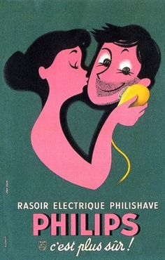 Vintage Poster - Philips Electric Razor advertisement, 1961 - Shaver - Bathroom