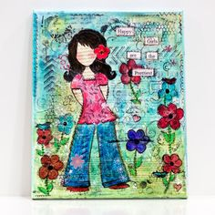 Original Mixed Media Canvas Happy Girls via Etsy